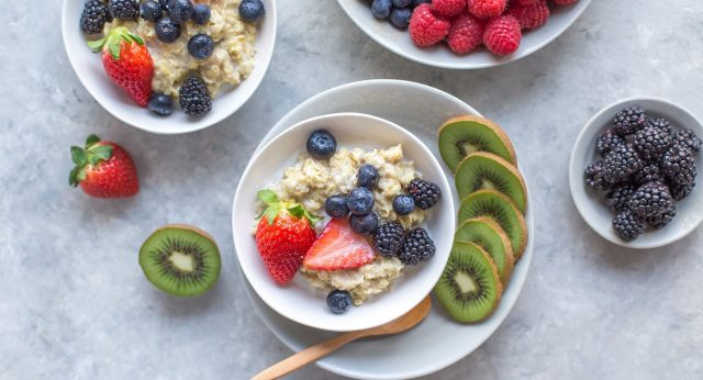 A Table with a oatmeal bowl