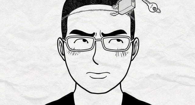 Schwarz weiß Zeichnung eines Mannes mit einem Schloss am Kopf